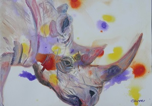 purple black rhinp painting. original rhino art, endangered animal