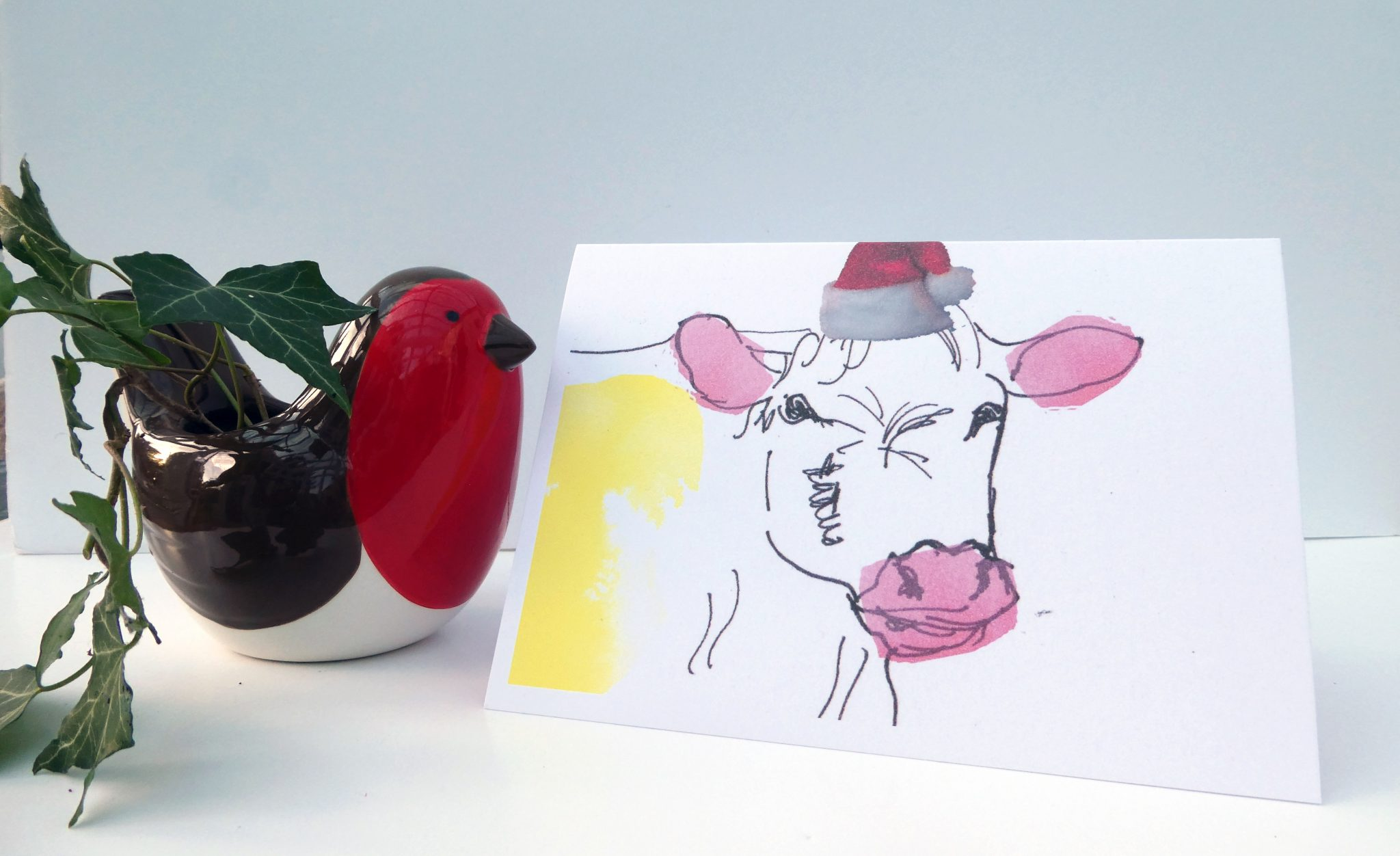 Cow in a party hat, cow card for Christmas, blank cow card for Xmas, festive funny cow card