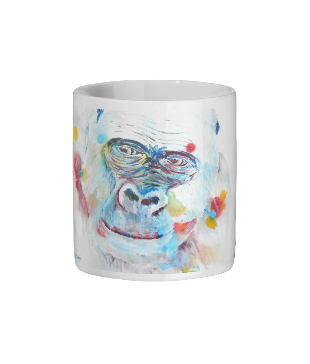 wildlife mug, gorilla mug, blue and white animal mug, coffee lover gift, ape mug gift