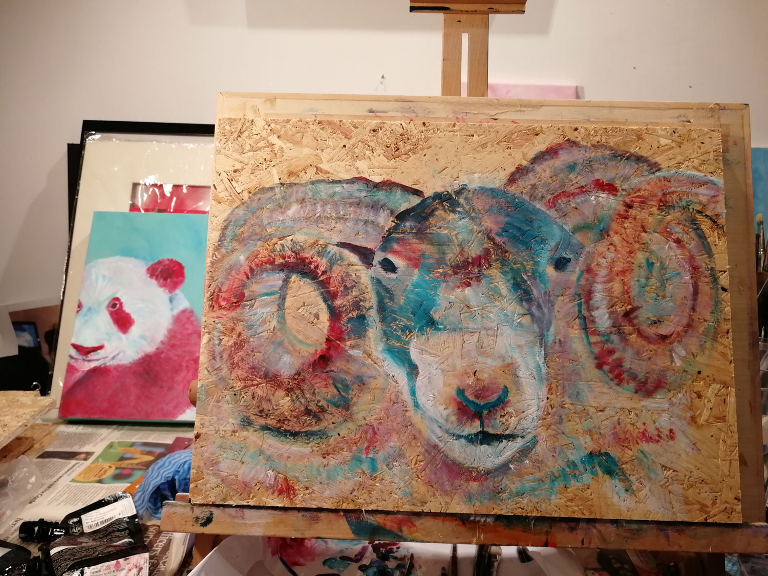 Sheep painting in progress, panda painting in progress. Caroline Skinner Art
